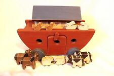 Handmade Wood Noah's Ark Toy on Wheels with Animals Signed