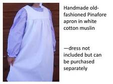 Girl Prairie Pioneer Old Fashioned Pinafore Apron size 5 6 7 White Muslin