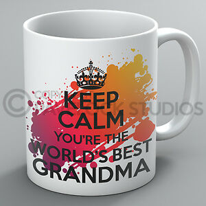 Keep Calm You're The World's Best Grandma Mug Mum Mothers Day Present Cup Gift