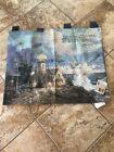 NWT Vintage 1998 Thomas Kinkade Wall Hanging Tapestry 34x30 w/ Verse Lighthouse