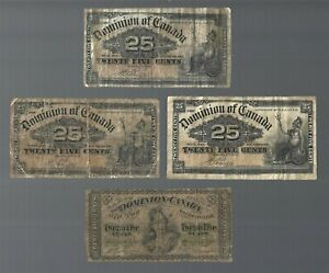 Canada 🎇 1900 x 3 & 1870 x 1 ✨ 25 cents x 4 notes 🎇 Collections & lots #60406