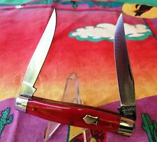Queen City Muskrat #66 Smooth Red Bone Pocket Knife 2 Blades NICE! Daniel's Era