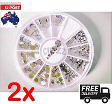 2x Nail Art Rhinestone Gems Beauty Craft Decoration Mixed Wheel Crystal Sizes
