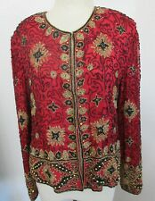 Papell Boutique Evening,Red Beaded Jacket Or Top Sz 12,L,Silk,Gold & Black Beads