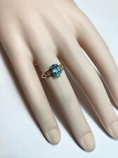 Topaz Diamond Right Hand Ring 14k Yellow Gold Blue Oval