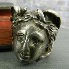 Vintage Sterling Silver Gorgon Greek Head Ring - Size 10.5