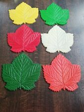 Vintage Leaf Multicoloured Coaster Tablemat Set Boxed Retro Kitsch