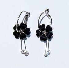 Earring Sparkle Heart Plumeria Flower Dangle Hawaii Luau CZ Long Drop Black