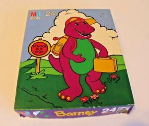 VINTAGE BARNEY THE DINOSAUR 1993 MILTON BRADLEY 24 PIECES School Bus COMPLETE