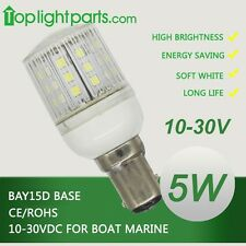 (5pcs)x BAY15d 12V-24V White Marine Ship Signal Anchor LED Light Bulb Waterproof