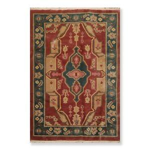 "5'6"" x 8'6"" Tufenkian Hand Knotted Wool Heriz Tibetan Oriental Area Rug Red/Rose"