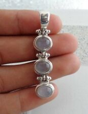 Three Moonstones Solid Silver, 925 Balinese Plain Design Pendant 37926