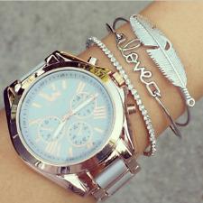 3Pcs/Set Women Silver Leaves Feather Love Rhinestone Opening Bangle Bracelets