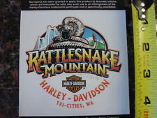 HARLEY DAVIDSON*RATTLESNAKE MOUNTAIN HD*TRI-CITIES,WASH*4 BY 4 INCH*DEALER*DECAL