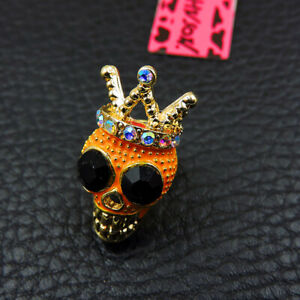 New Orange Rhinestone Crown Skull Crystal Betsey Johnson Charm Brooch Pin