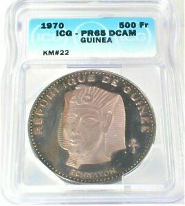 1970 Guinea Silver Proof 500 Francs Guineens ICG PR65 DCAM KM#22  (860)