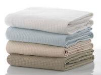 Belledorm 100% Cotton Waffle Blanket Single Bed Size in Blue 170cm x 220cm
