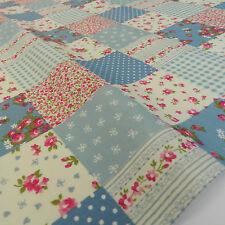 """Demi x mètre patchwork effet bleu crépuscule tissu shabby chic 100% coton 45"""""""