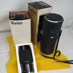 VINTAGE OLYMPUS VIVITAR MACRO ZOOM LENS  75-205MM F3.8 1:4X O/OM 0211709 + CASE