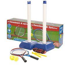 Kids Garden Outdoor Tennis Set With Net Stand 2 Rackets Balls Game Toy Training
