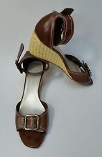 Etienne Aigner Shoes Sandals Ankle Strap Wedge Heels Brown Griffon Size 8 M