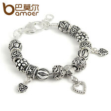 European Tibetan silver Charm Bracelet With Heart Black Beads DIY For Women GIFT