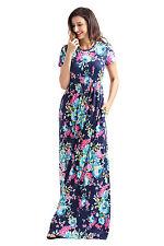 Short Sleeve Blue Floral Print Pocket maxi Dress size UK 8-10