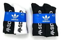 adidas Originals Men's Trefoil Crew 6 Pairs Socks Running Athletic Size 6-12