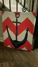 Anchor Nautical canvas print handmade navy 16 × 20