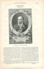 Portrait de Salomon Gessner poète de Suisse par Euchler Graveur GRAVURE 1887