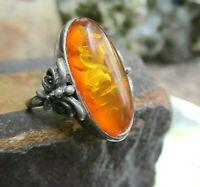 anmutiger bernstein ring vintage oder älter silber 925 17 mm 黃色奶油糖琥珀