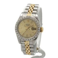 ROLEX 69173 OYSTER PERPETUAL DATE 18K SS DIAMOND BEZEL LADIES WRISTWATCH NR 8946