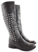 Womens Winter Riding Low Flat Heel Calf Leg Knee Walking Boots Size