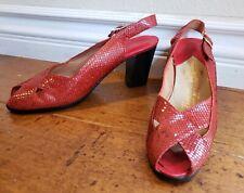 Vintage Manor-Bourne for I. Magnin & Co 5 1/2 N Red Snake Skin Pumps Shoes Spain