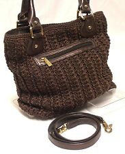 THE SAK Crocheted Brown Bronze Accent Med Convertible Handbag Crossbody Shoulder
