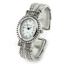 Silver Metal Western Style Decorated Oval Face Women's Bangle Cuff Watch