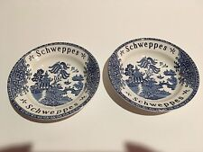 "Schweppes Advertising Two Enoch Wedgewood Blue Willow England 4 3/4""D Plate"