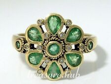 DIVINE Genuine 9ct Yellow Gold NATURAL Emerald & Diamond DAISY Ring size N