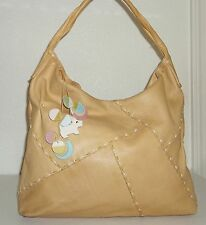 Radley Camel Tan Beige Soft Pebble Leather Scotty Dog Hobo Purse Handbag Bag