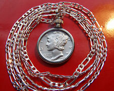 """US High Grade Silver Mercury Dime Pendant ON A 16"""" .925 Sterling Silver Chain"""