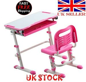 Student Desks and Chairs Set C Style White Lacquered White Surface Pink Plastic