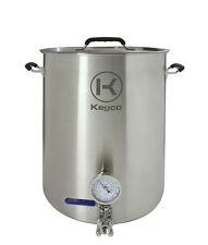 Kegco 15 Gallon Brew Kettle with Thermometer and 3-Piece Ball Valve