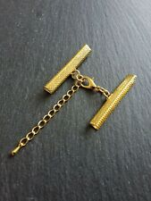 4 sets Gold Plated Crimp Ends for 40mm Ribbon with Lobster Clasps & Extender UK