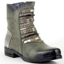 XYXYX Stiefelette 38 Nappa LEDER Oliv Silber Used Boots Schmuck Hand Made So NEU