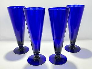 Rare Gibson Classic Annapolis Dessert Dishes Cobalt Blue 8-1/2in Tall - Set Of 4