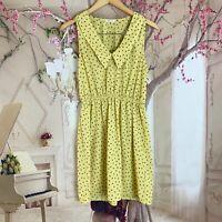 Everly Woman's Yellow Peter Pan Collar Rose Print Summer Dress Size Medium
