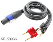 3ft Speakon Neutrik Plug to Two Dual Banana Plugs Speaker/amplifier Kirlin Cable