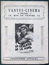 """G W Pabst """"La tragedie de la Mine"""" orig 1932 Vanves Cinéma French Movie Program"""