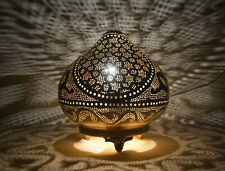"""Handcrafted Egyptian Moroccan Matte Gold Brass 8"""" Table Lamp Light"""