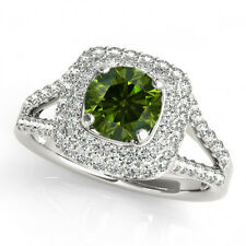 1.03 Cts Clean Green Round Diamond Solitaire 14k White Gold Wedding Band Ring